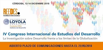 ABIERTO PLAZO DE ENVÍO DE RESÚMENES PARA EL IV CONGRESO INTERNACIONAL DE ESTUDIOS DEL DESARROLLO